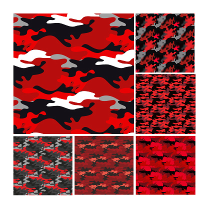 collection of red military camouflage style patterns with pixels and shapes.
