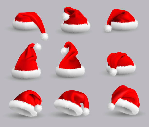 Collection of Red Santa Claus Hats isolated on gray background. Set. Vector Realistic Illustration. Set of Red Santa Claus Hats isolated on gray background. Vector Realistic Illustration. santa hat stock illustrations