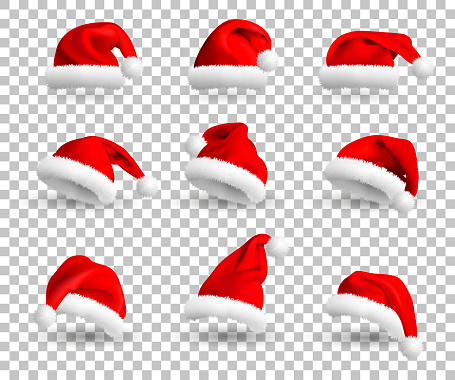 Collection of Red Santa Claus Hats isolated on transparent background. Set. Vector Realistic Illustration.