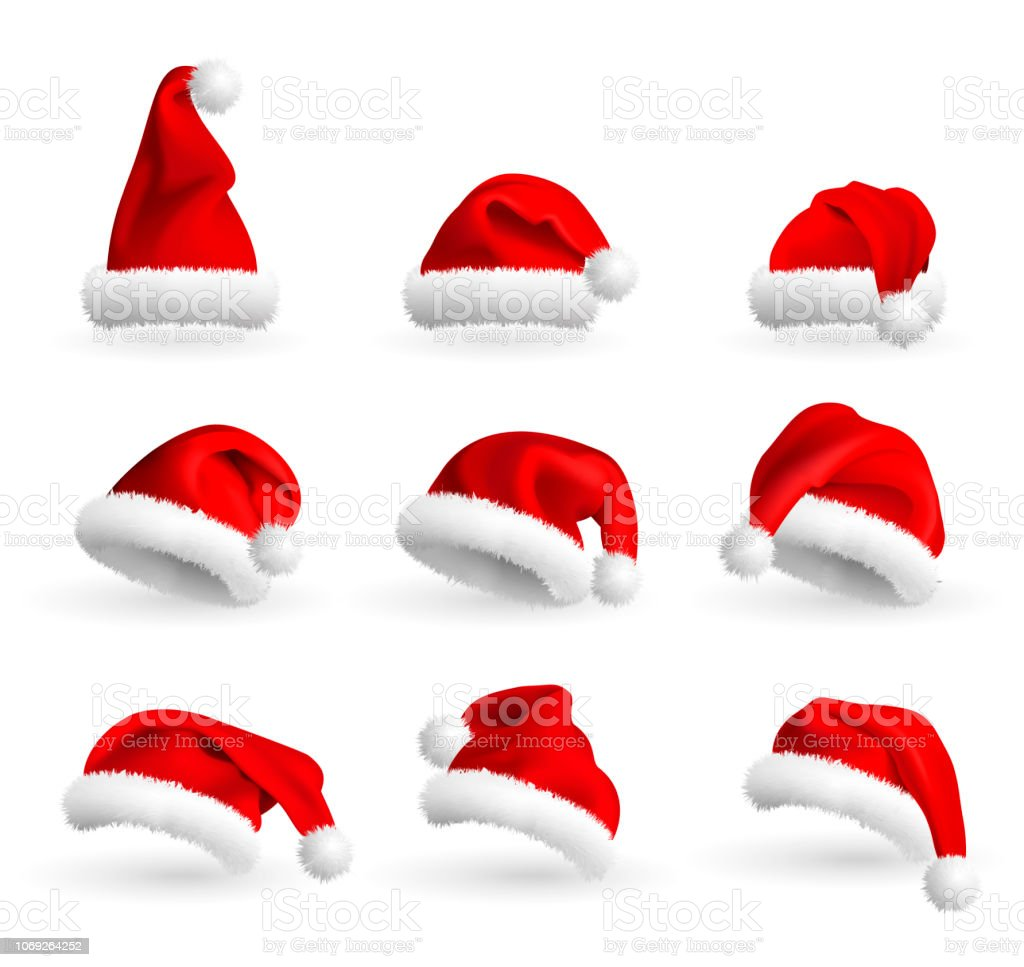 Collection of Red Santa Claus Hats isolated on white background. Set.  Vector Realistic Illustration. - Illustration . 132e373429ea