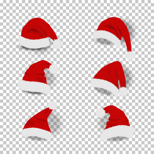 collection of red santa hats on transparent background. - christmas background stock illustrations