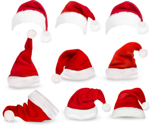 stockillustraties, clipart, cartoons en iconen met collection of red santa hats. vector. - kerstmanhoed
