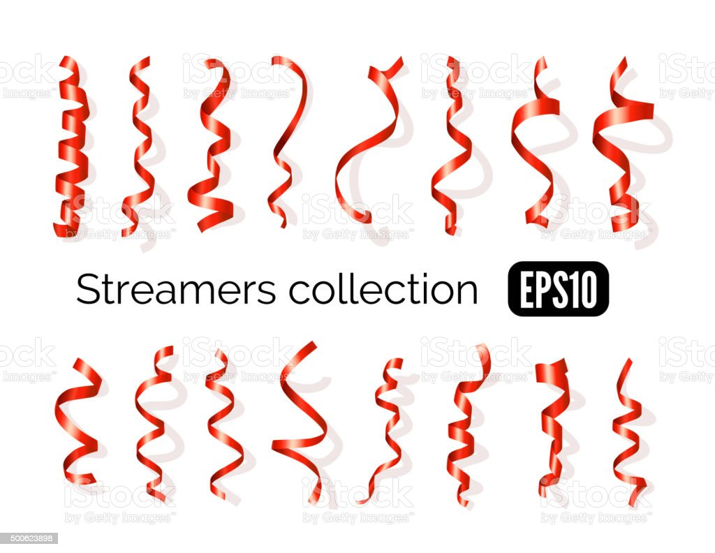 Collection of red streamers and party ribbons isolated on white vector art illustration