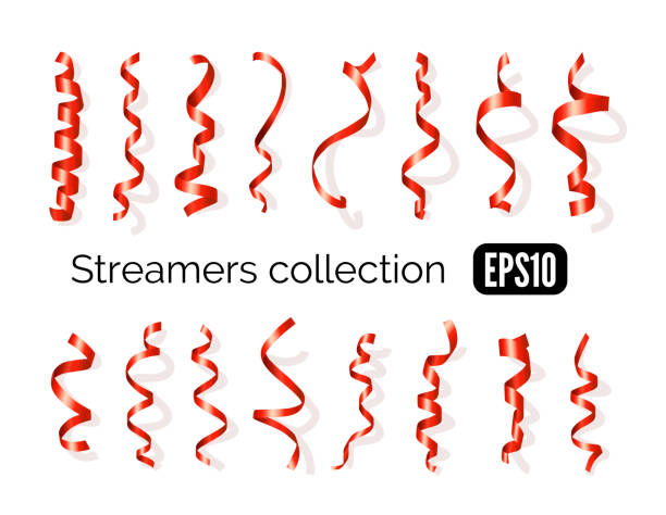 collection of red streamers and party ribbons isolated on white - streamer stock illustrations, clip art, cartoons, & icons