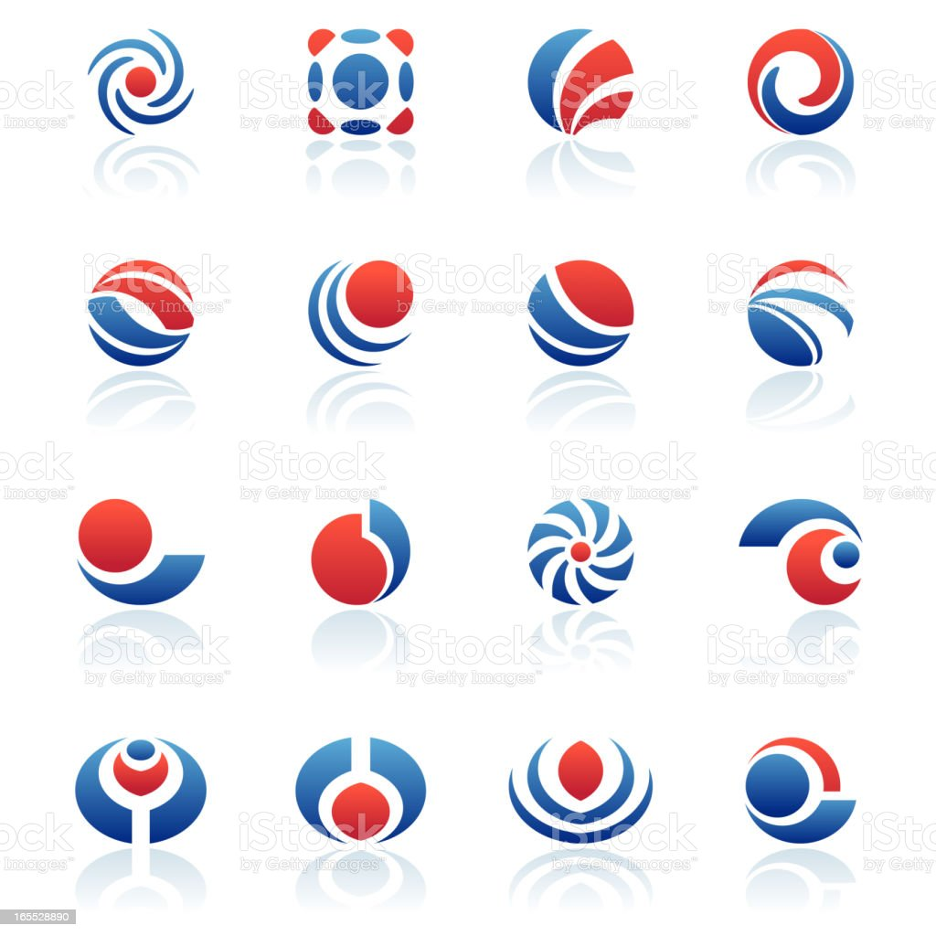 Collection of red white and blue spherical design elements royalty-free stock vector art