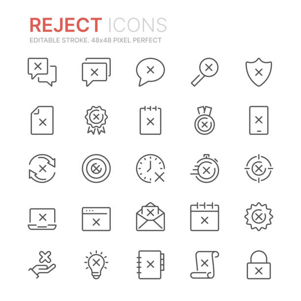 Collection of rekect line icons. 48x48 Pixel Perfect. Editable stroke Collection of rekect line icons. 48x48 Pixel Perfect. Editable stroke rejection stock illustrations