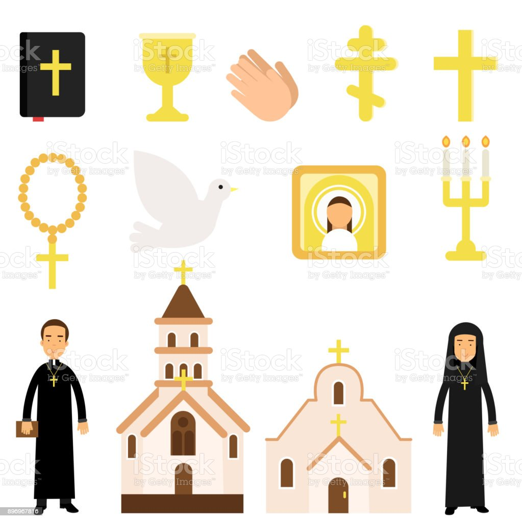 Collection Of Religious Symbols And Objects In Flat Style Bible Icon
