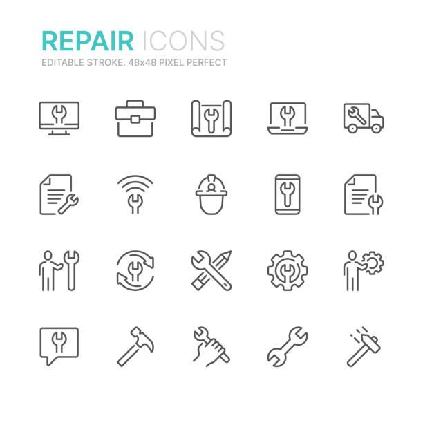 stockillustraties, clipart, cartoons en iconen met verzameling van reparatie lijn iconen. 48x48 pixel perfect. bewerkbare lijn - hamer