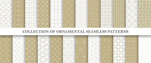 Collection of repeatable ornamental vector patterns. Grid geometric oriental backgrounds.