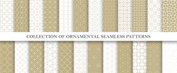 collection of repeatable ornamental vector patterns. grid geometric oriental backgrounds. - бесшовный узор stock illustrations