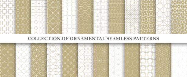 stockillustraties, clipart, cartoons en iconen met collectie van herhaalbare sier vector patronen. raster geometrische oosterse achtergronden. - herhaling begrippen