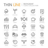 Collection of restaurant thin line icons. Vector eps 10
