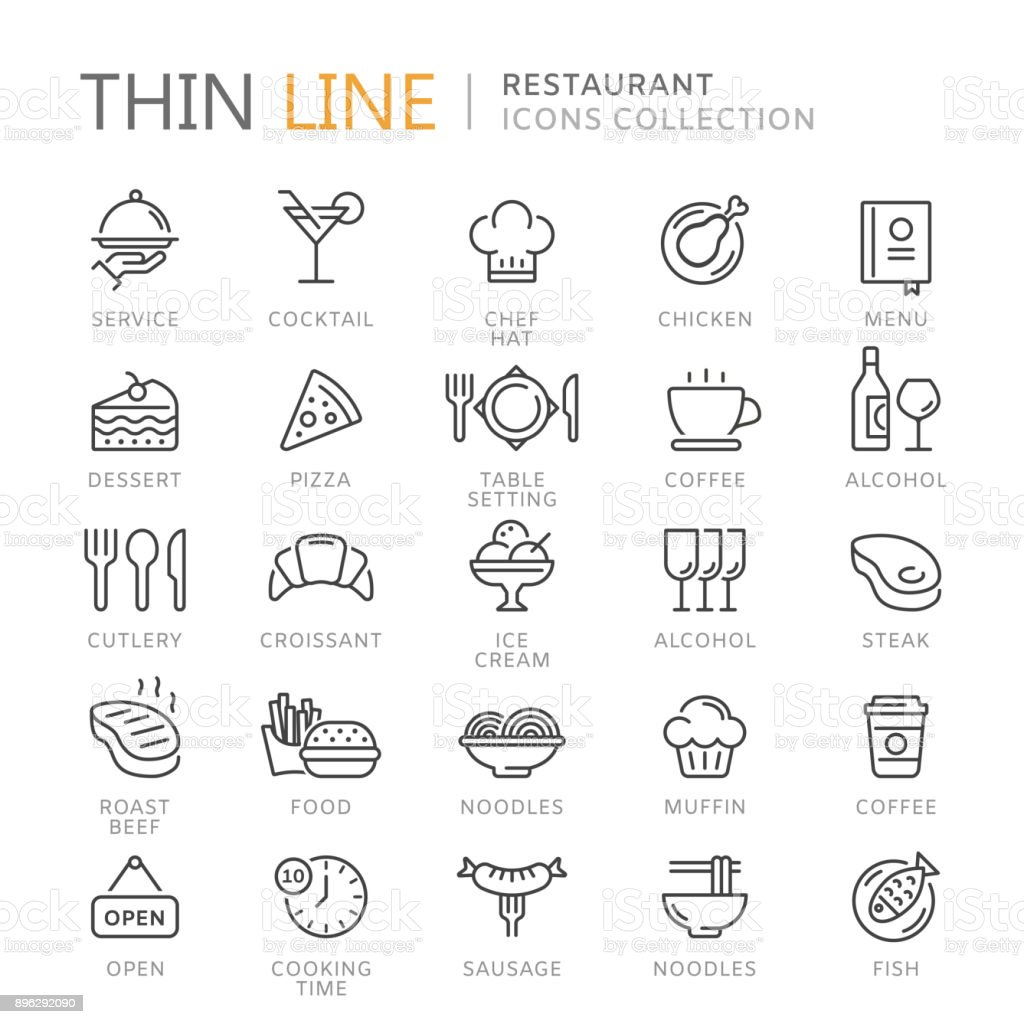 Collection of restaurant thin line icons vector art illustration