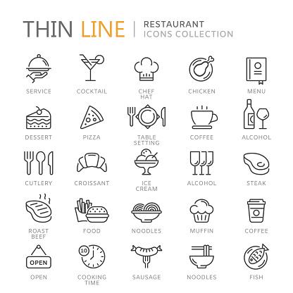 Sammlung Von Restaurant Dünne Linie Icons Stock Vektor Art und mehr Bilder von Alkoholisches Getränk