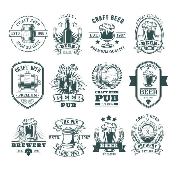 Collection of retro beer emblems, badges, stickers - ilustração de arte em vetor