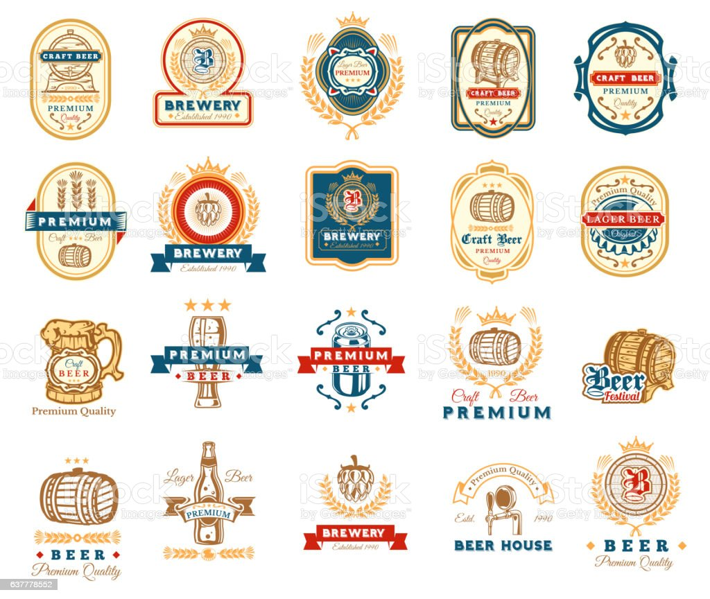 Collection of retro beer emblems, badges, stickers - illustrazione arte vettoriale