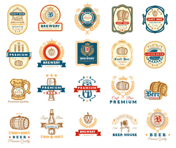 Collection of retro beer emblems, badges, stickers​​vectorkunst illustratie