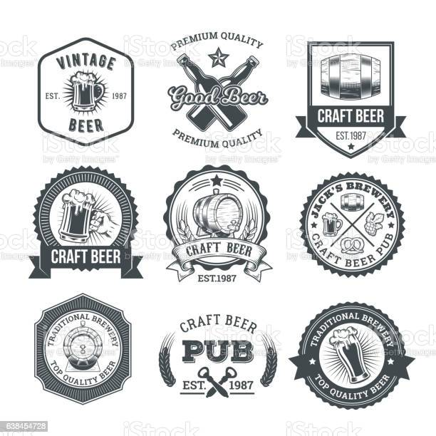 Collection of retro beer emblems badges stickers vector id638454728?b=1&k=6&m=638454728&s=612x612&h= tbwy1t04qukwczk jjezbeawir ywzlt575mbb8kqw=