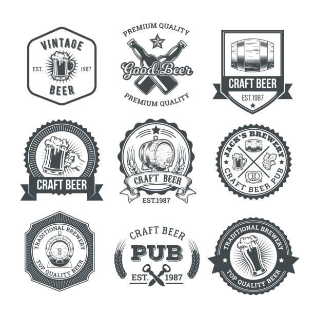 Collection of retro beer emblems, badges, stickers – Vektorgrafik