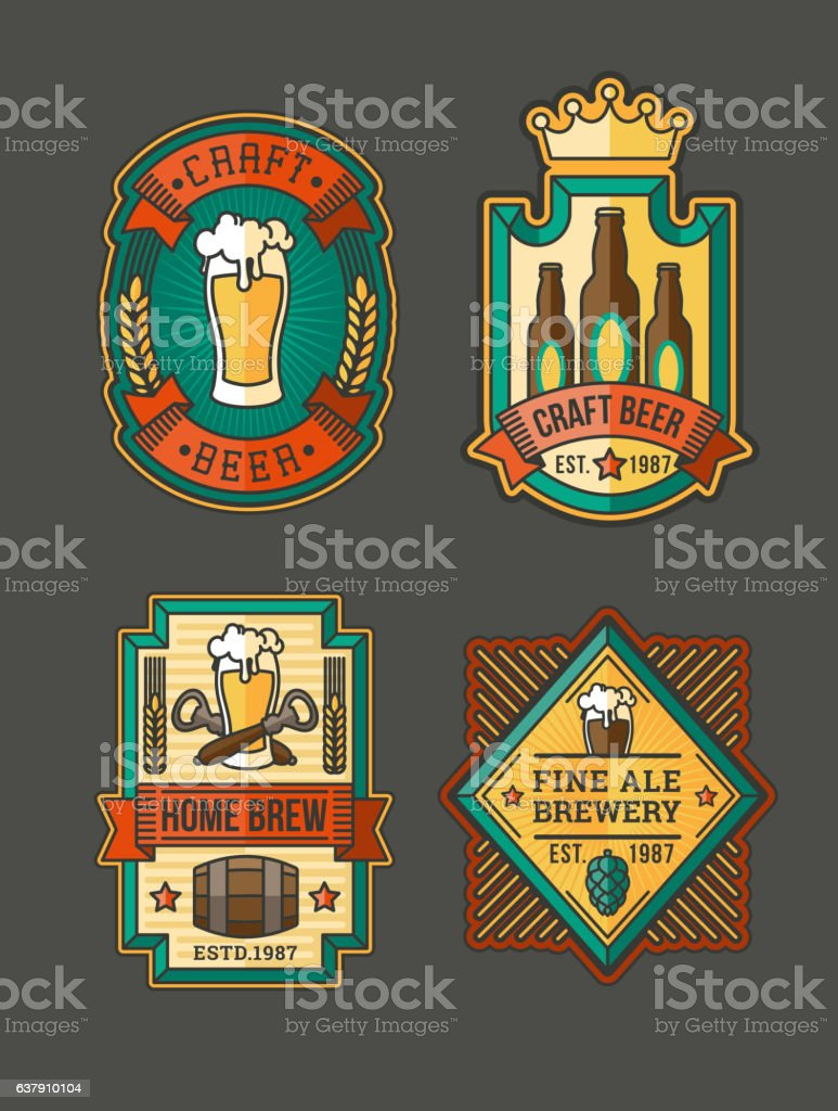 Collection of retro beer labels, stickers vector art illustration