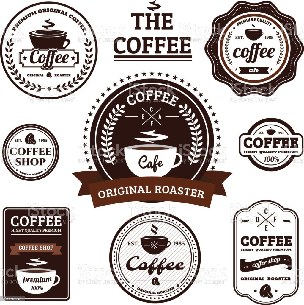 Collection of Retro Coffee Label Design vector art illustration