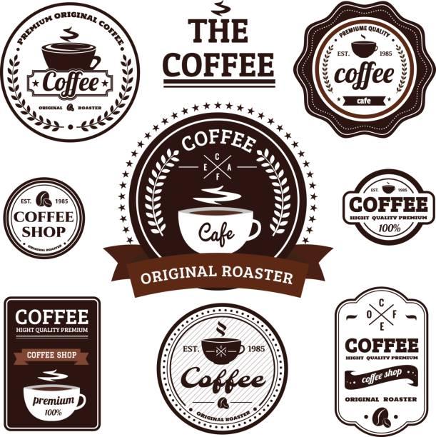 レトロなコーヒー ラベル デザインのコレクション - バリスタ点のイラスト素材/クリップアート素材/マンガ素材/アイコン素材