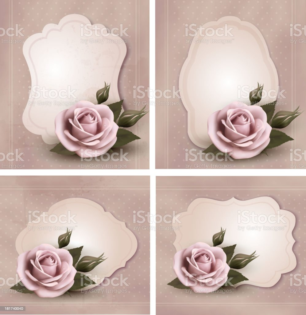Collection of retro greeting cards with pink roses. Vector illustration royalty-free stock vector art