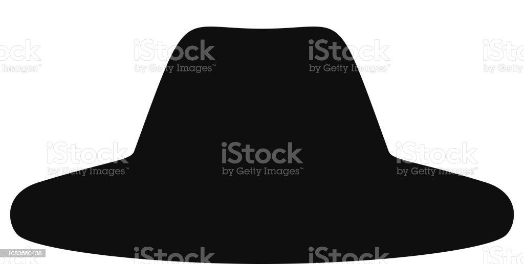 Colección de silueta de sombreros retro. Sombrero superior aislado sobre  fondo blanco. Ilustración de da8294f4902