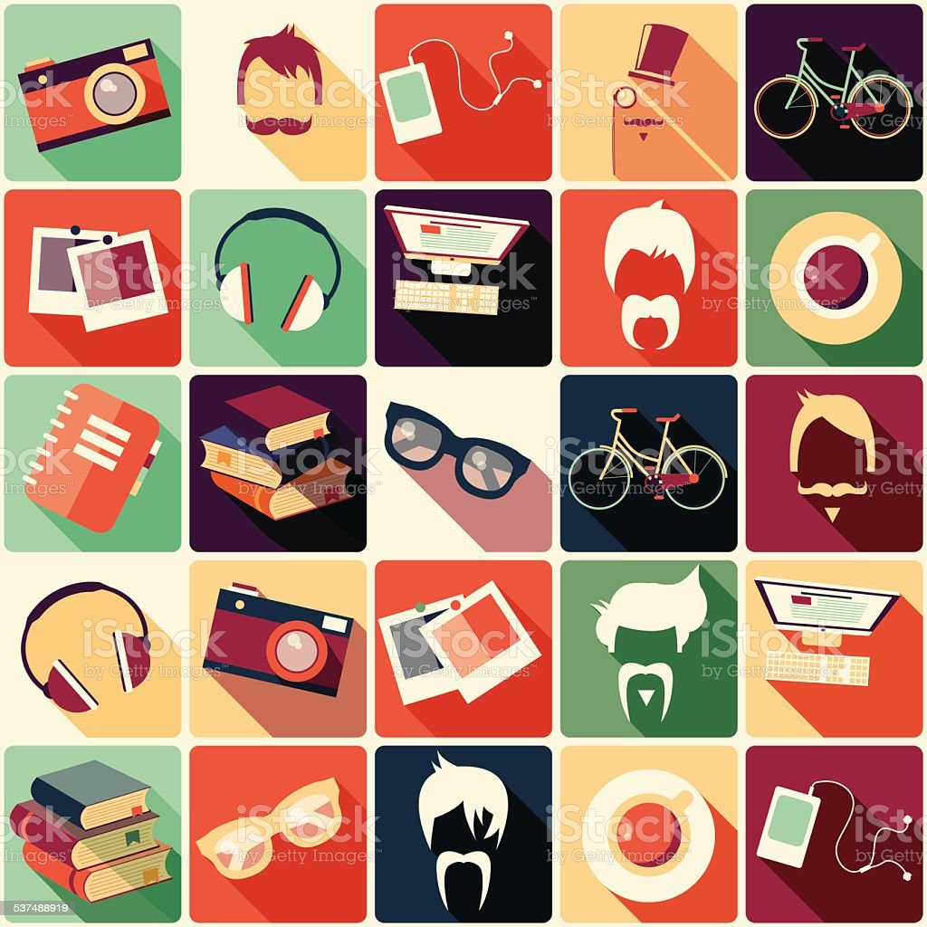 Collection of retro hipster elements, vector illustration vector art illustration