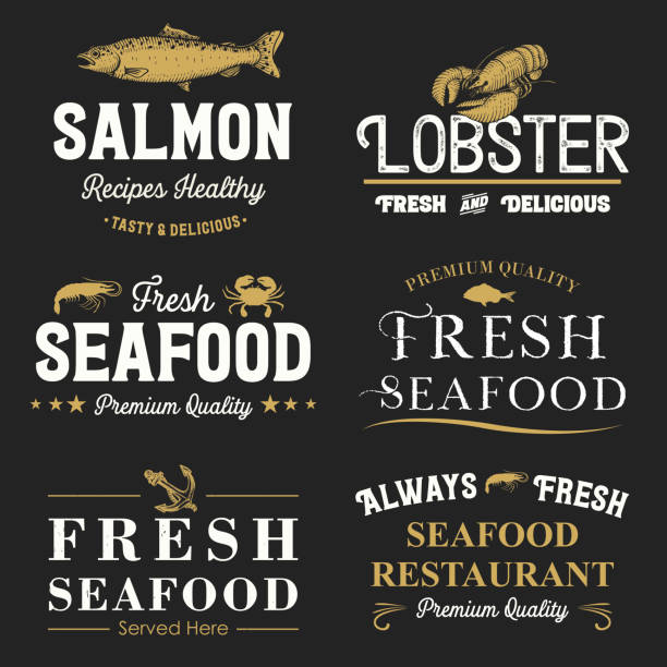 Collection of retro seafood labels and badges, Vector No layers seafood stock illustrations