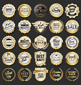 Collection of retro vintage golden badges and labels