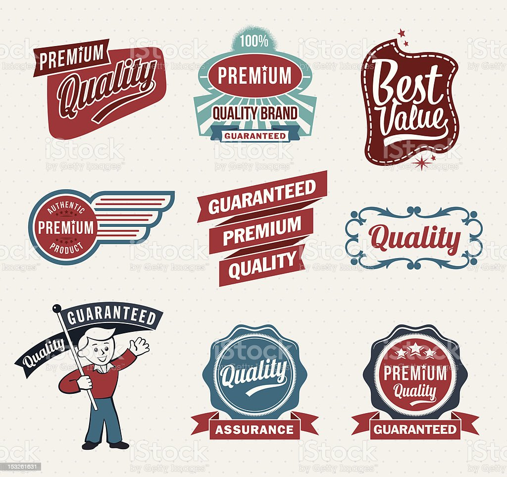 Collection of retro vintage quality labels vector art illustration