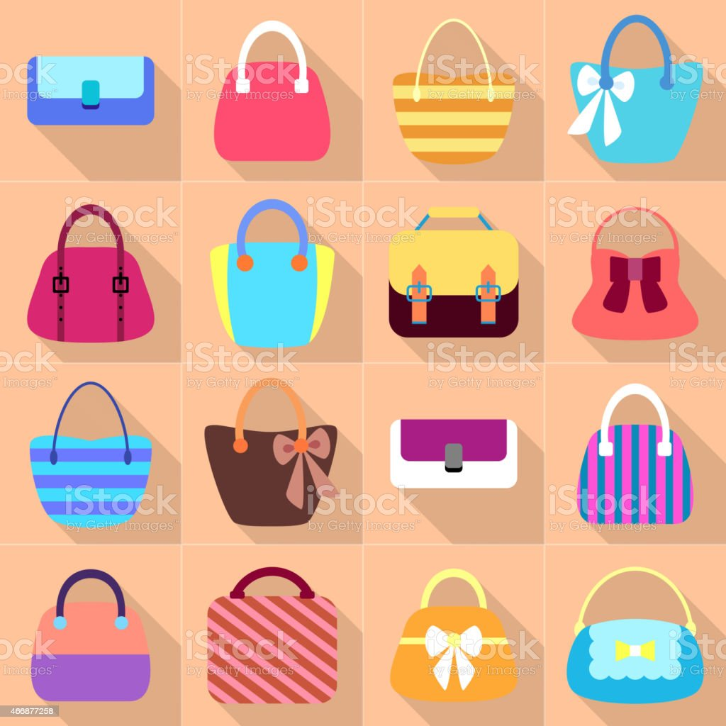 Collection of Retro Woman Bags vector art illustration