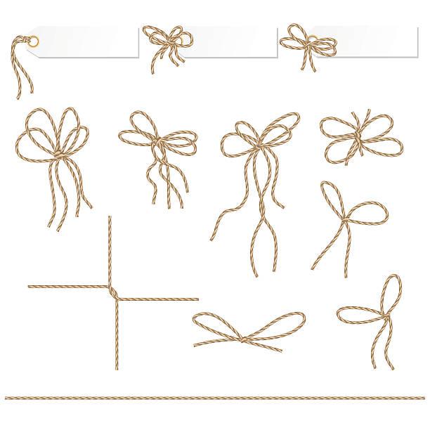 kolekcja wstążki ahd łuków na lina styl - sznurek stock illustrations