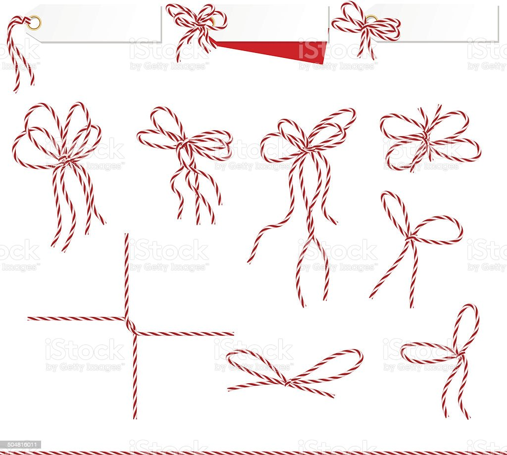 Collection of ribbons ahd bows in twine style vector art illustration