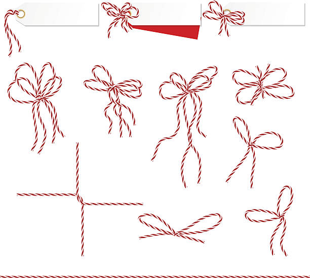 kolekcja wstążki ahd łuków w szpagatu styl - sznurek stock illustrations