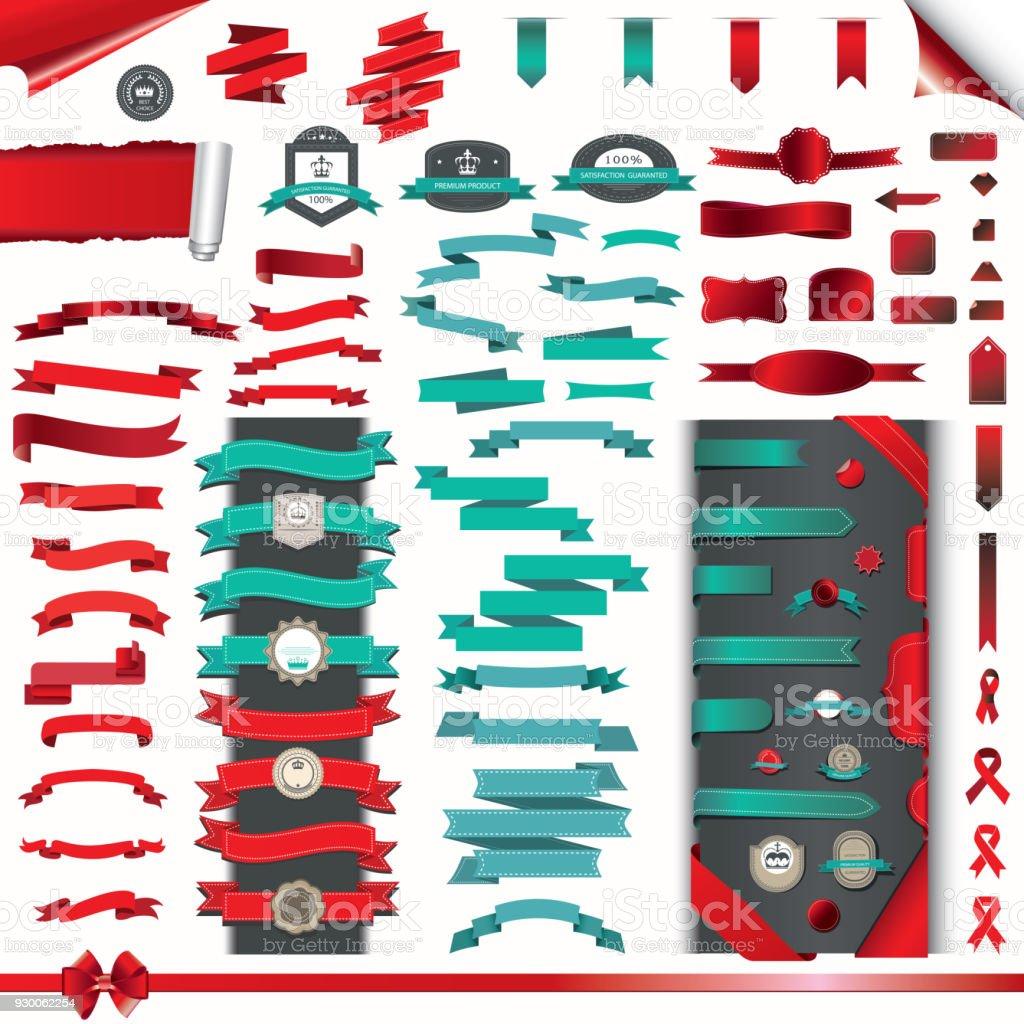 Sammlung von Bändern, Aufkleber und Etiketten – Vektorgrafik