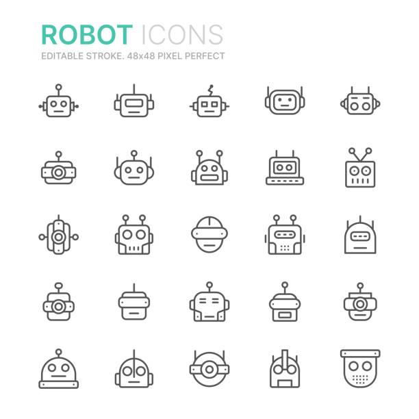ilustraciones, imágenes clip art, dibujos animados e iconos de stock de colección de iconos de línea de robots. 48x48 pixel perfecto. trazo editable - robot