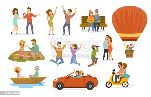 collection of romantic activities of couples in love, disco club dance, sing karaoke songs, sitting in park on a bench, hot air balloon flying trip, picnic, ride scooter, rowing boat, car journey, photoshooting