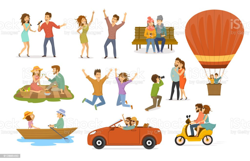 collection of romantic activities of couples in love, disco club dance, sing karaoke songs, sitting in park on a bench, hot air balloon flying trip, picnic, ride scooter, rowing boat, car journey, photoshooting vector art illustration