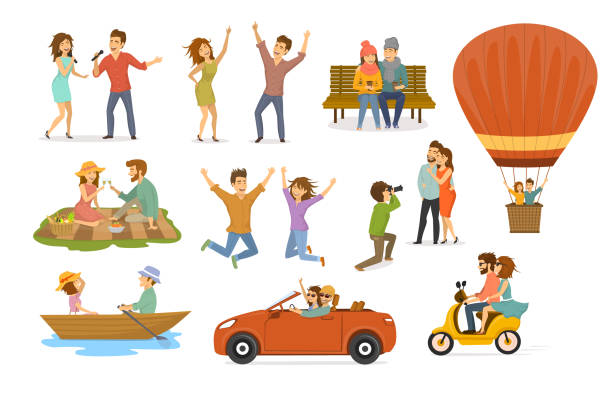 collection of romantic activities of couples in love, disco club dance, sing karaoke songs, sitting in park on a bench, hot air balloon flying trip, picnic, ride scooter, rowing boat, car journey, photoshooting - couple stock illustrations