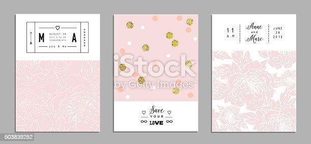 Collection of romantic invitations with gold glitter texture.