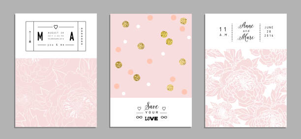 Collection of romantic invitations with gold glitter texture. Collection of romantic invitations with gold glitter texture. Wedding, marriage, bridal, birthday, Valentine's day. Isolated. Vector birthday designs stock illustrations
