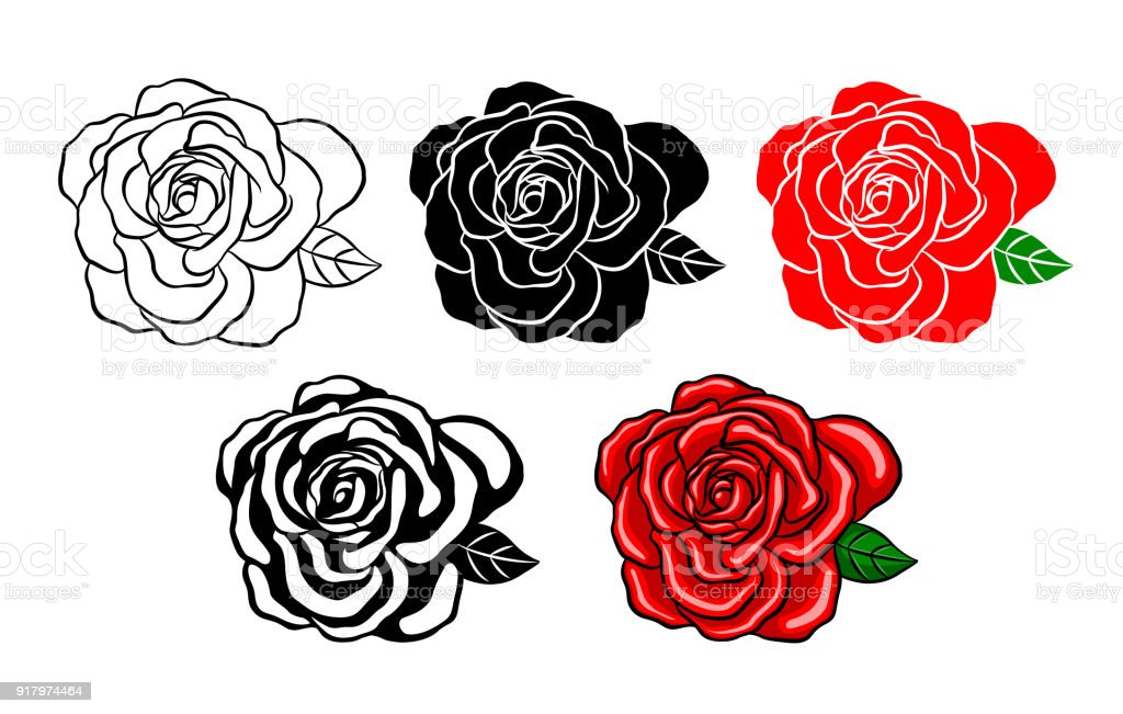 Collection of roses. Silhouette of black, color and shadow style.