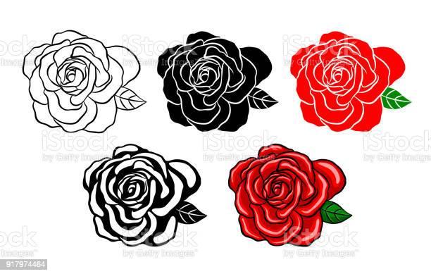 장미 컬렉션입니다 블랙 색상 및 그림자 스타일의 실루엣입니다 0명에 대한 스톡 벡터 아트 및 기타 이미지