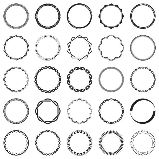 Collection of Round Decorative Border Frames with Clear Background. Ideal for vintage label designs. Collection of Round Decorative Border Frames with Clear Background. Ideal for vintage label designs. bicycle chain stock illustrations