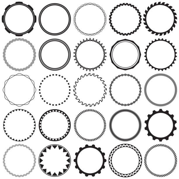 Collection of Round Decorative Ornamental Border Frames with Clear Background. Ideal for vintage label designs. Collection of Round Decorative Ornamental Border Frames with Clear Background. Ideal for vintage label designs. electric saw stock illustrations