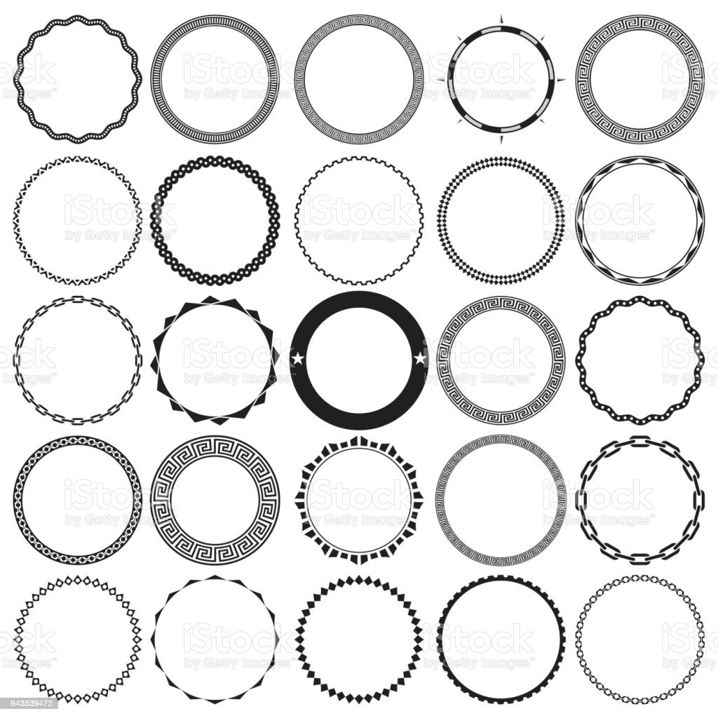 Collection of Round Decorative Ornamental Border Frames with Clear Background. Ideal for vintage label designs. vector art illustration