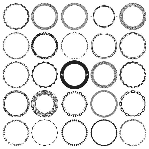 collection of round decorative ornamental border frames with clear background. ideal for vintage label designs. - stars tattoos stock illustrations