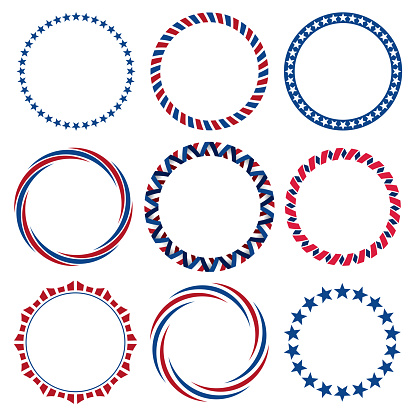 Collection of round Fourth of July vintage label borders